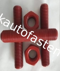 China Red ASTM a193-B7/B7M Threaded rods Teflon PTFE TPFE PVDF Plain, black, phosphate, zinc, hot dip galvanizing, dacromet supplier